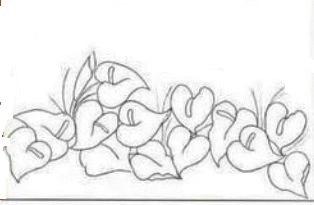 desenho de anturios para pintura em tecido