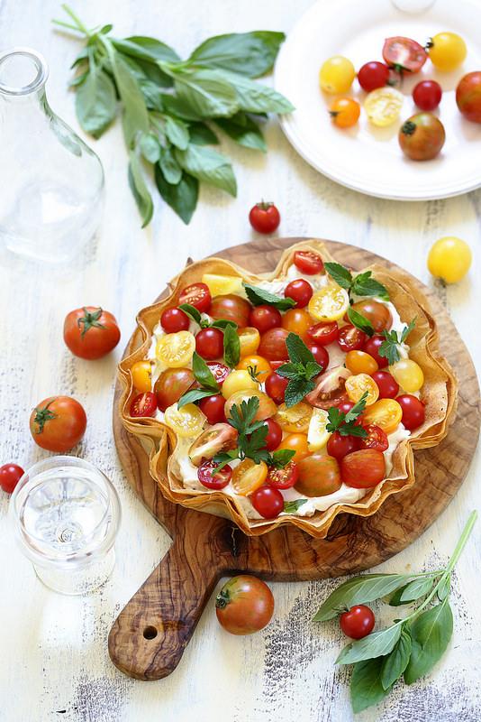 Tarte aux tomates et au chèvre frais