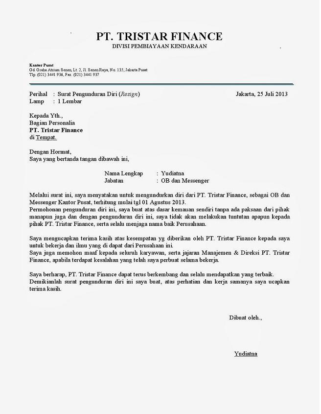 Contoh Surat Mengundurkan Diri