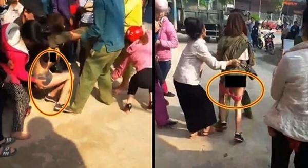 Vợ trẻ đánh ghen kinh hoàng lột sạch nội y bố nhí của chồng giữa phố