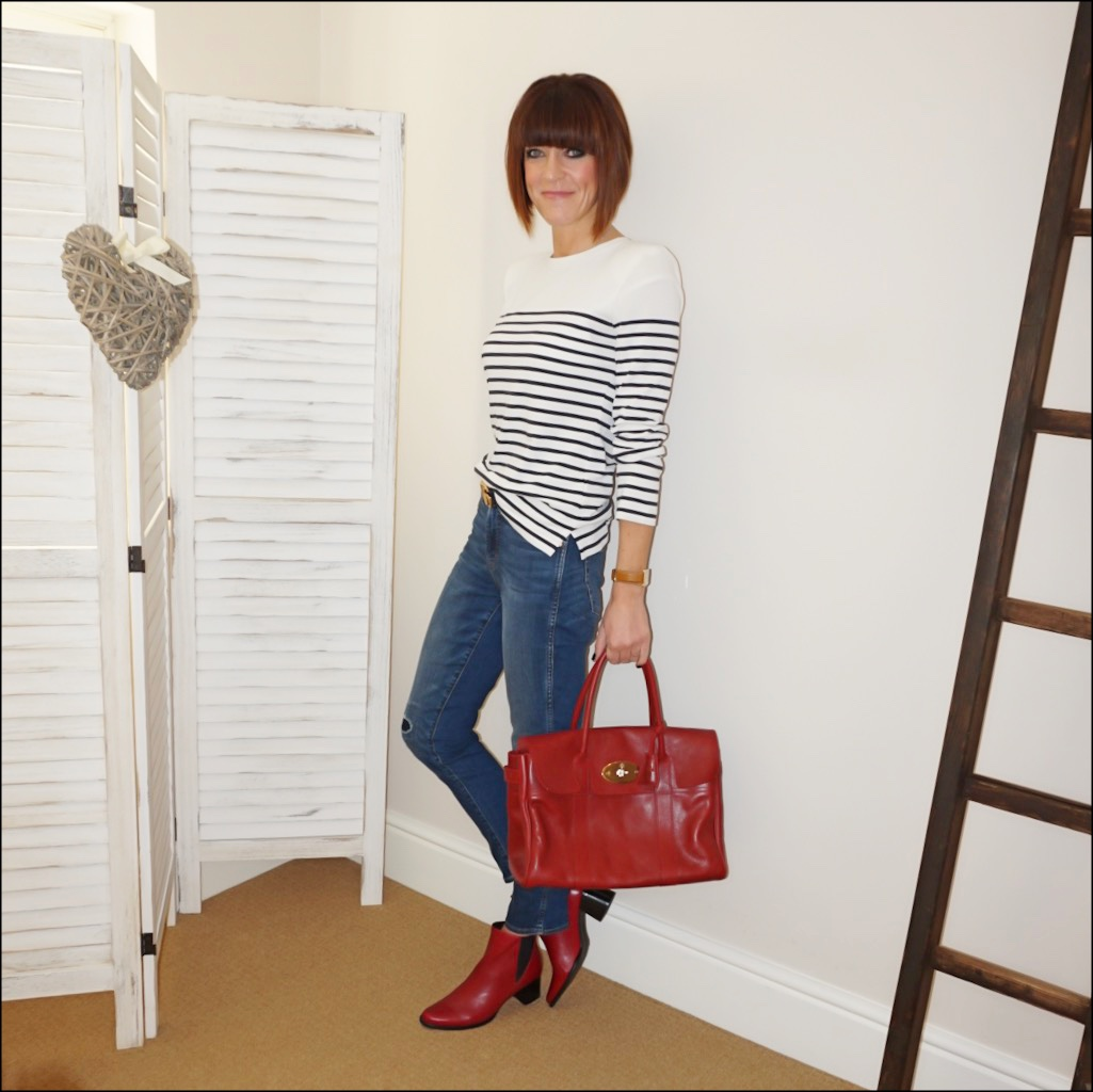 my midlife fashion, caudalie pieralot breton top, j crew straight leg rip and repair jeans, gucci double gg belt, jones harriet leather ankle boots, mulberry bayswater