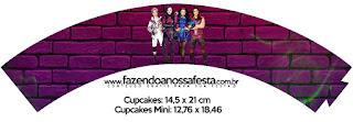 Wrappers para Cupcake de Fiesta de Descencientes para Imprimir Gratis.