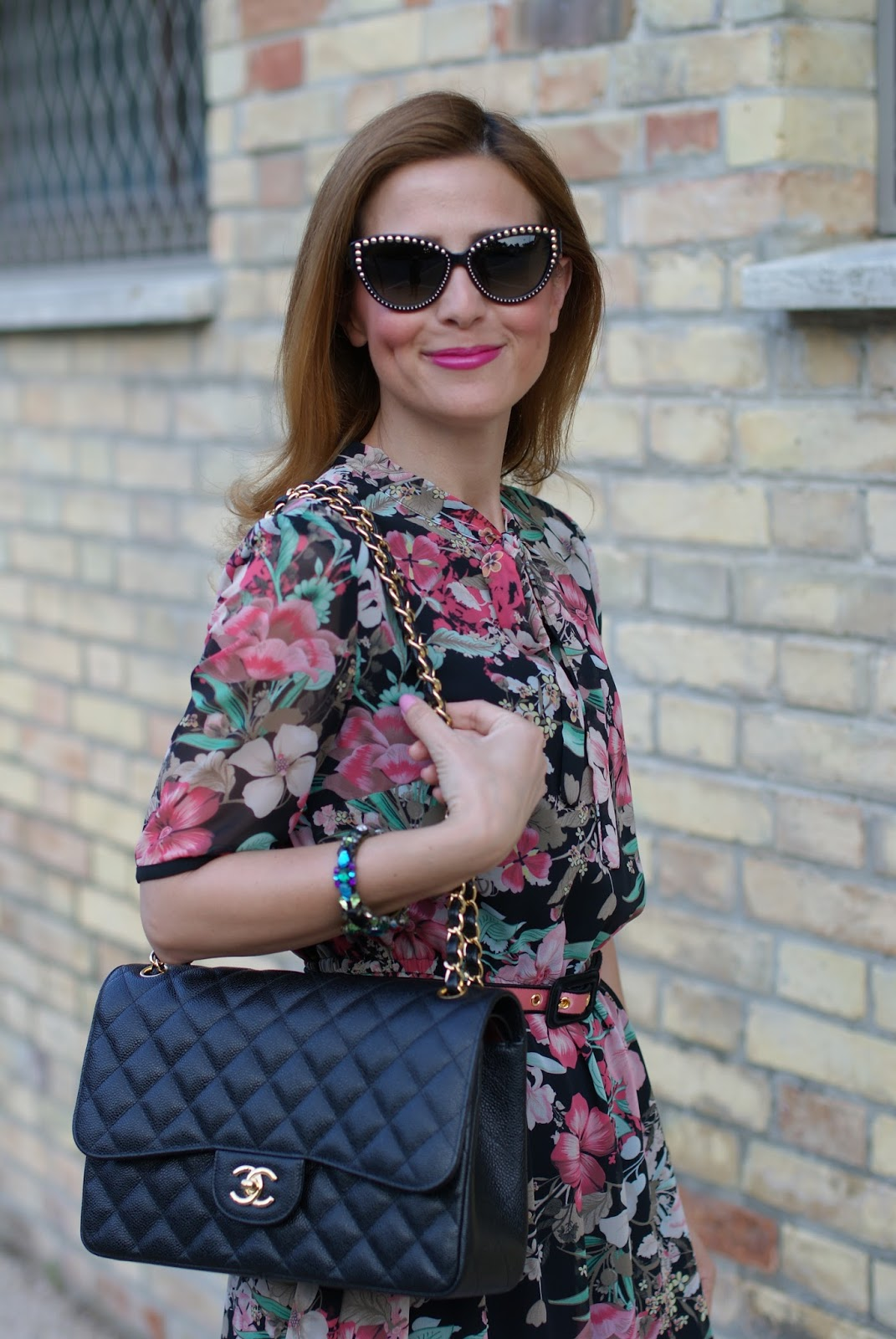 Floral bon ton dress and Chanel bag on Fashion and Cookies fashion blog, fashion blogger style