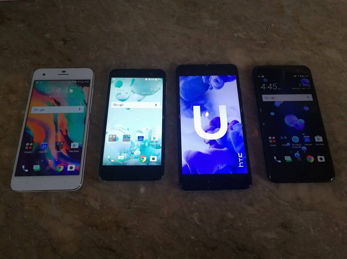The HTC Desire 10 Pro, HTC U Play, HTC U Utra, and HTC U11