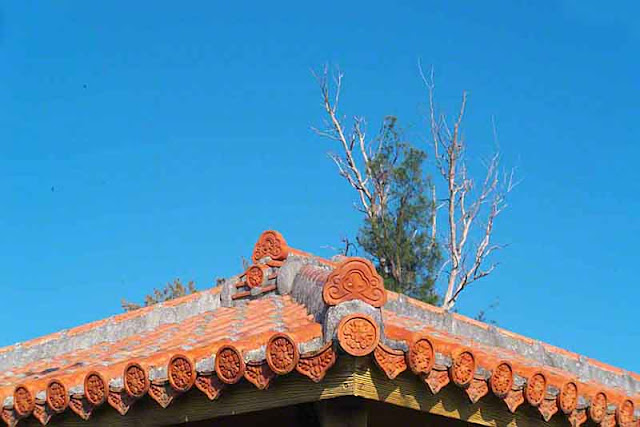 Tiled roof, Okinawa, trees, sky