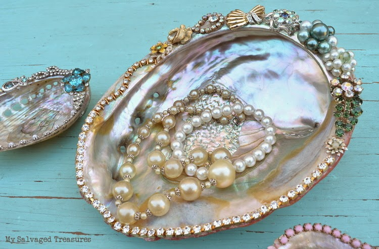 upcycled and decorated abalone shells with vintage jewelry