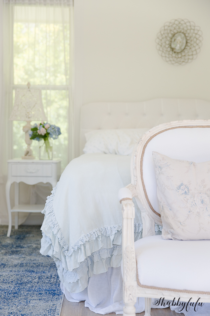 french country cottage style master bedroom