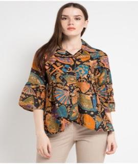 baju batik atasan wanita resmi