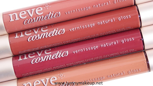 Neve Cosmetics - Vernissage Natural Gloss. Private Collection. Dall'alto verso il basso, le colorazioni:  Birth of Venus, Persistence of Memory, Blessed Soul, Nike of Samothrace.