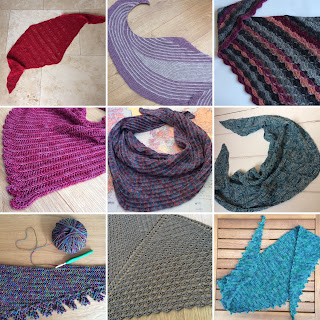 Collage of nine crochet shawls
