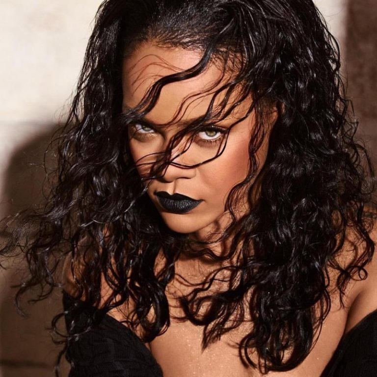 Rihanna looks in Fenty Beauty F'N Black Mattemoiselle lipstick