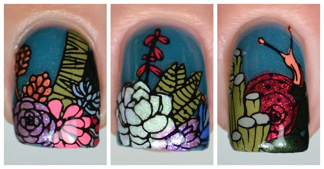 succulent nail art stamping