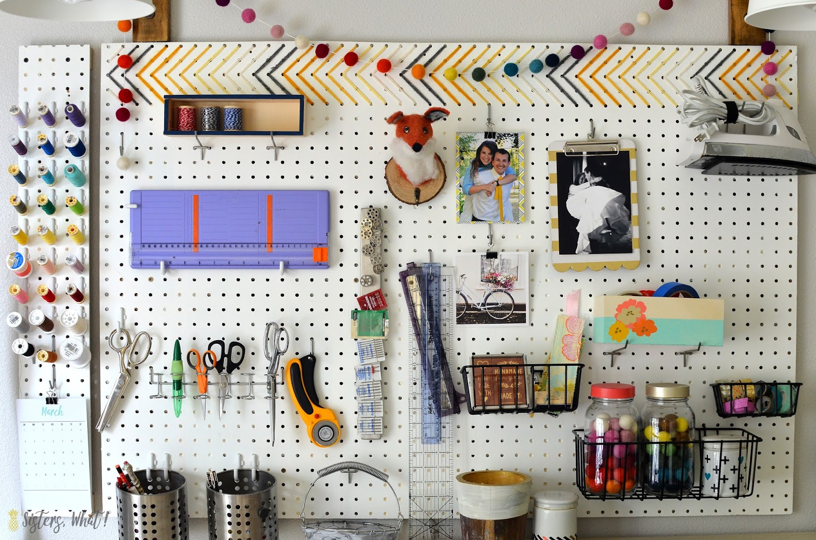 How to use a pegboard in a craft space in an organized crafty way