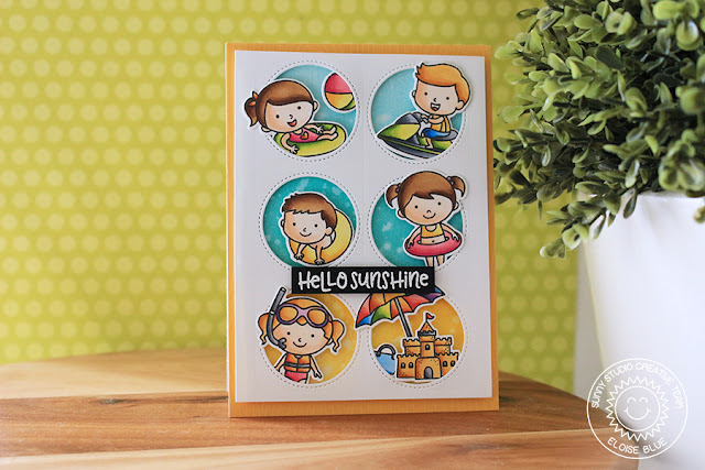 Sunny Studio Stamps: Beach Babies Hello Sunshine Window Card and Video by Eloise Blue