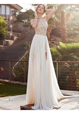A-line Scoop Floor-length Chiffon Prom Dresses/Evening Dresses #SI008