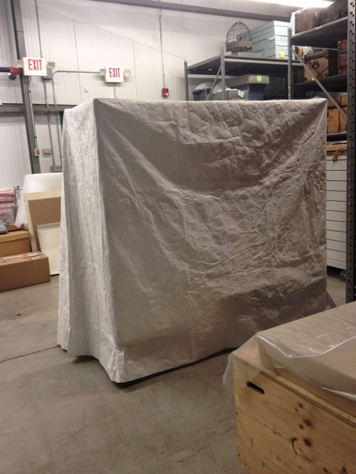 Custom made Tyvek dust cover, archival museum storage, Spicer Art Conservation