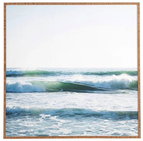 Wood Framed Ocean Wave Photo Print Square