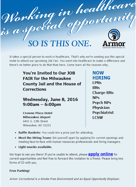 Armor Correctional hiring now at their job event, June 1! RNs, LPNs, Physician, Psychiatrist, and more needed in healthcare!