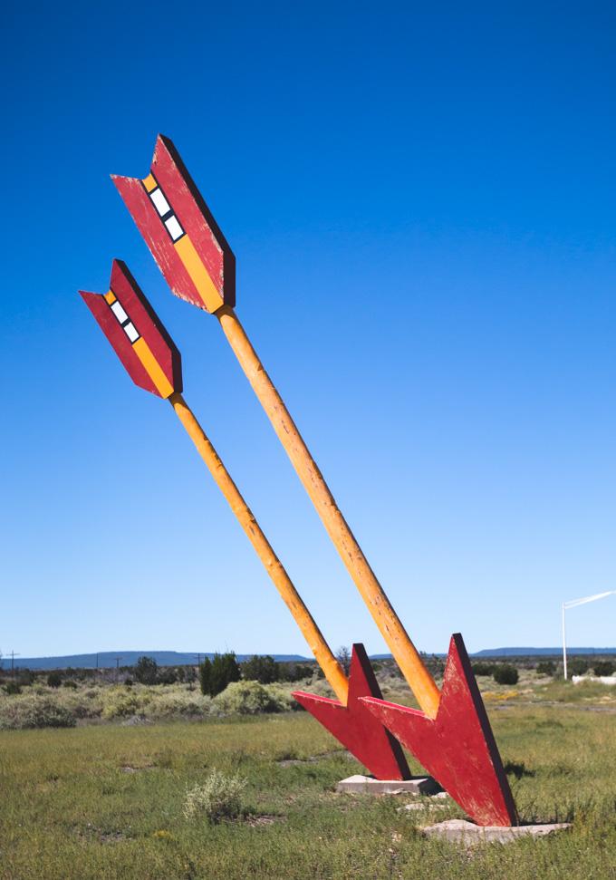 abandoned, giant arrows, desert