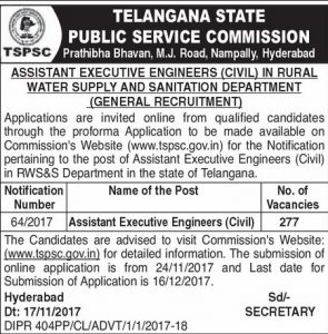 Telangana TSPSC RWS&S Dept AEE Assistant Executive Engineer (Civil) Recruitment 2017 277 Govt Jobs Online