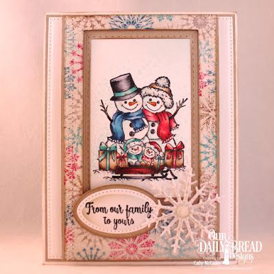 Our Daily Bread Designs Stamp Set: Snowman Family, Paper Collection: Christmas 2014. Custom Dies: Pierced Rectangles, Double Stitched Rectangles, Rectangles, Ovals, Pierced Ovals, Snow Crystals