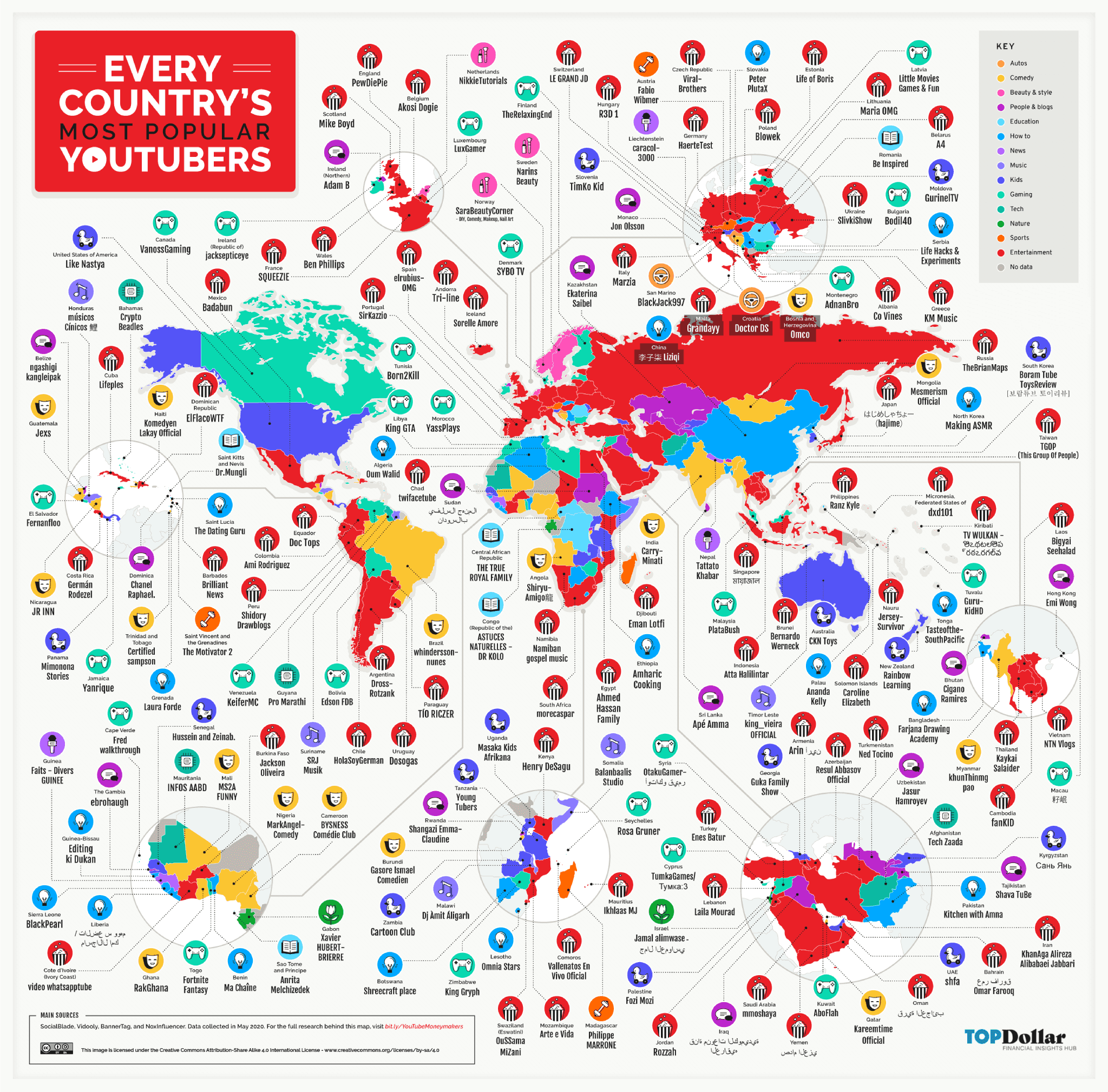 New map shows every country's most popular YouTube channel (and estimated earnings)