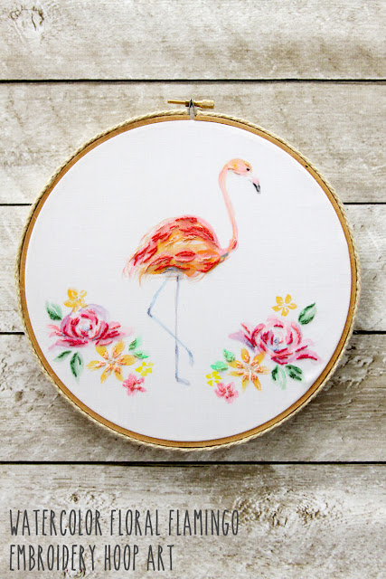 embroidered -flamingo-embroidery-hoop-art