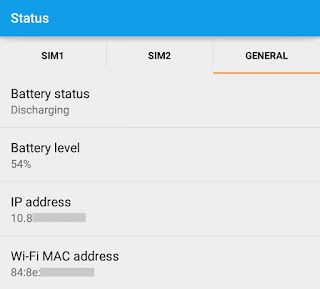 Find Android IP Address using Status Tool
