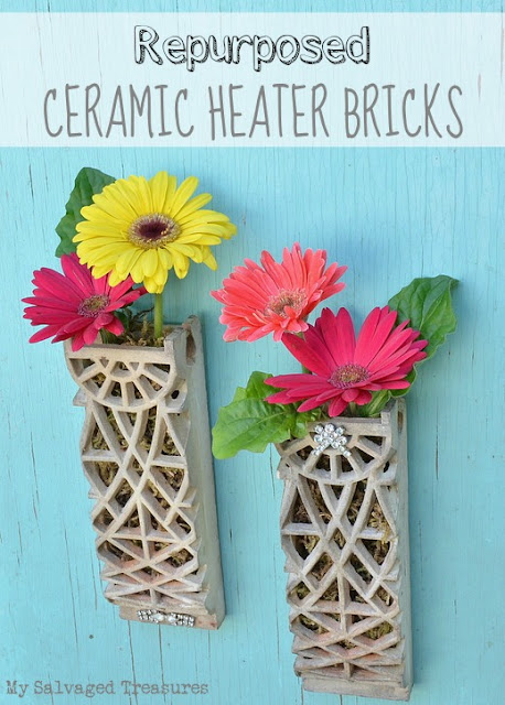 Turn old ceramic heater bricks into decorative sconces wall pockets