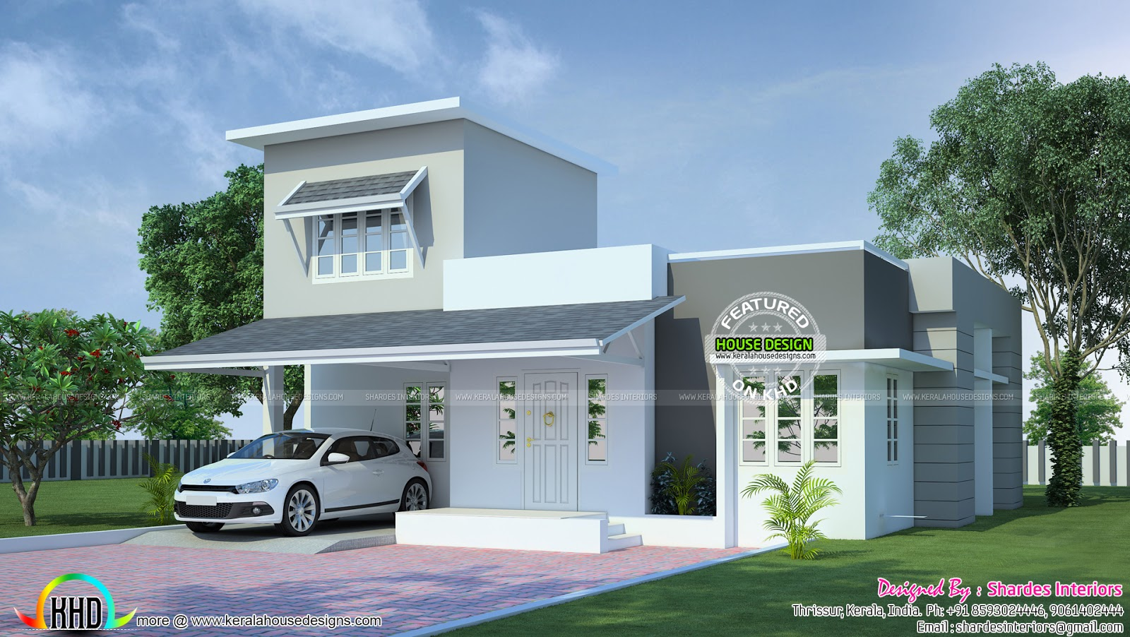 1600 sq ft modern single floor kerala home design and for Single floor house