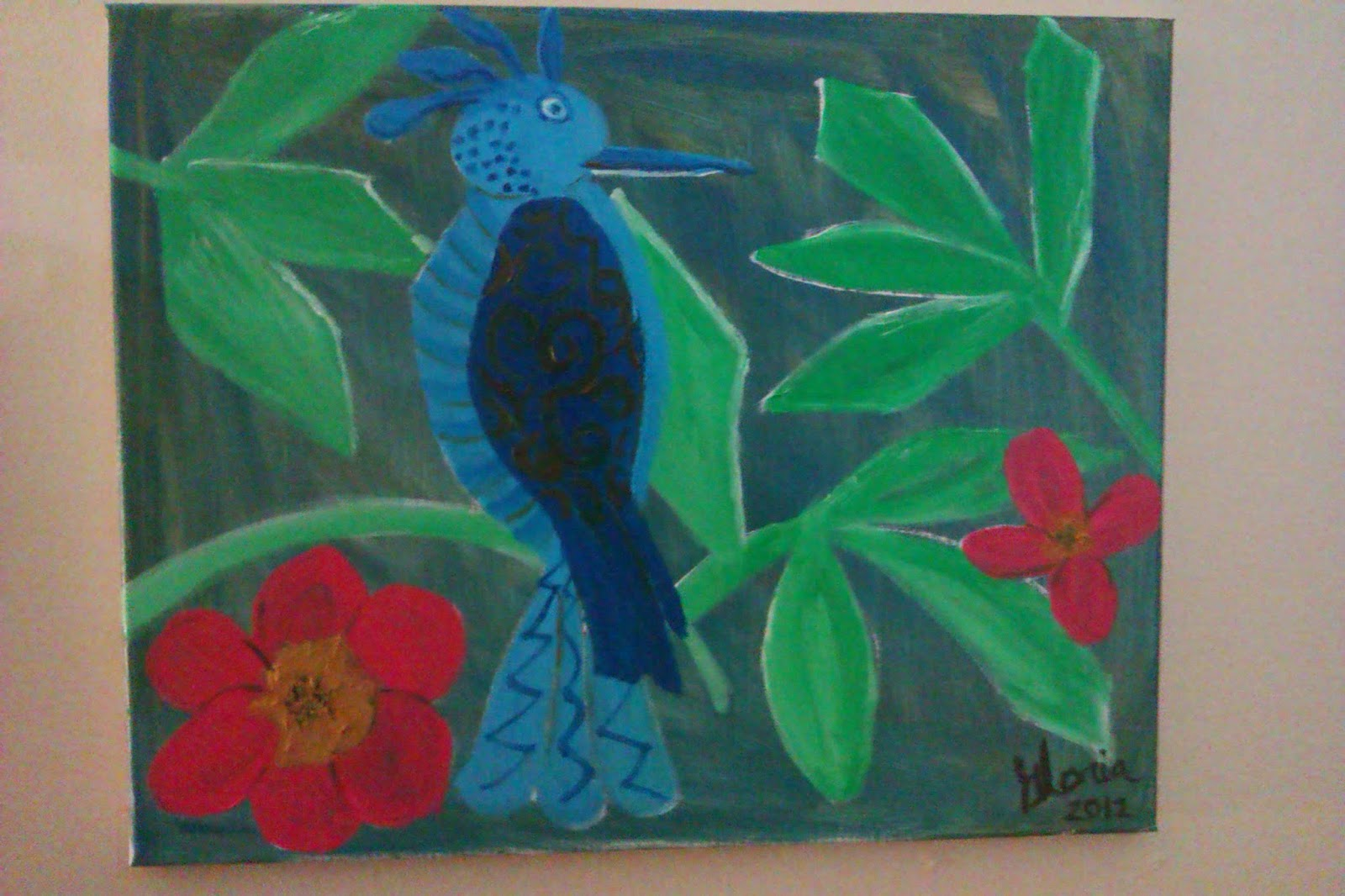 """Blue bird in forest"" oil painting by Gloria Poole of Missouri; yr 2013"