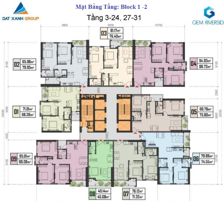 mặt bằng tầng 3-24 block 1-2