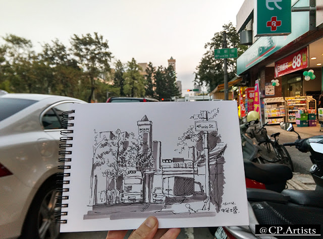 中興大學街景媒材:麥克筆+鋼筆