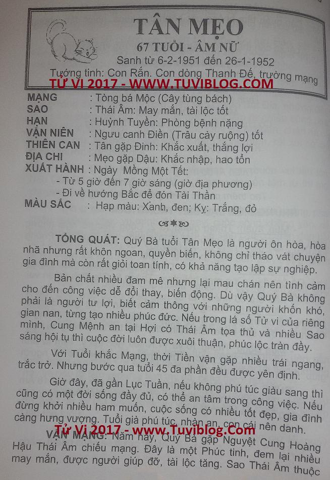 Tu vi 2017 Tan Mao 1951 nu mang