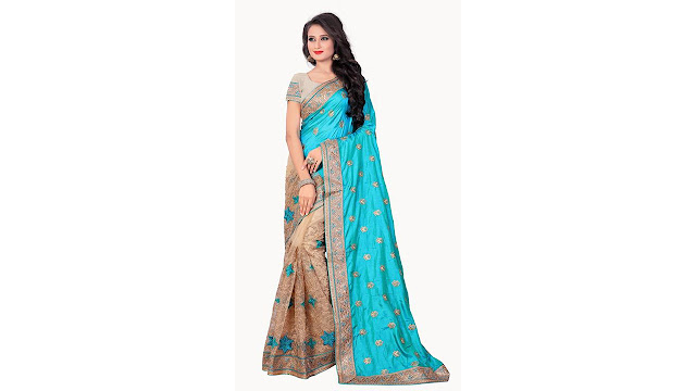 M.S.Retail Embroidered Bollywood Silk, Net Saree  (Blue)
