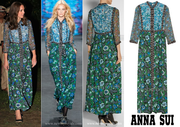 Kate Middleton wore Anna Sui Printed Crinkled Silk-Chiffon and Twill Maxi Dress, Kate Middleton style jewels, diamond earrings