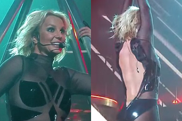 Embarrassment on stage, Britney Spears broke the zipper on the suit during the show