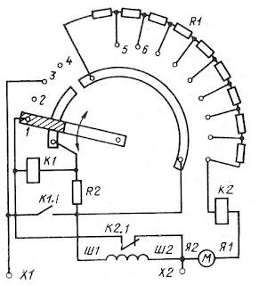 Схема пускового реостата постоянного тока