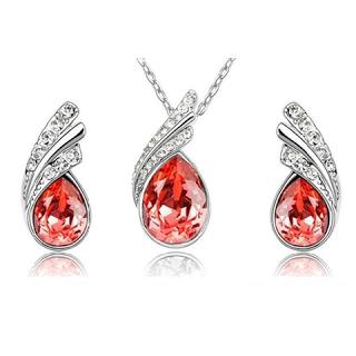 Florence Scovel Jewelry Angel Tear Drop Austrian Crystal Pendant & Earring Set