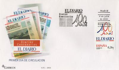 Sobre PDC del sello del 2003 dedicado al diario centenario de Diario Montañés