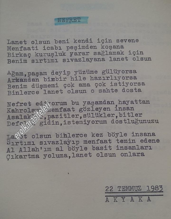 Nostaljik Asker Şiirleri - Nefret