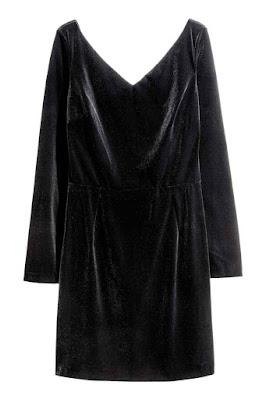 mała czarna, aksamitna sukienka, H&M, trendy 2017, stylizacja na dzień kobiet