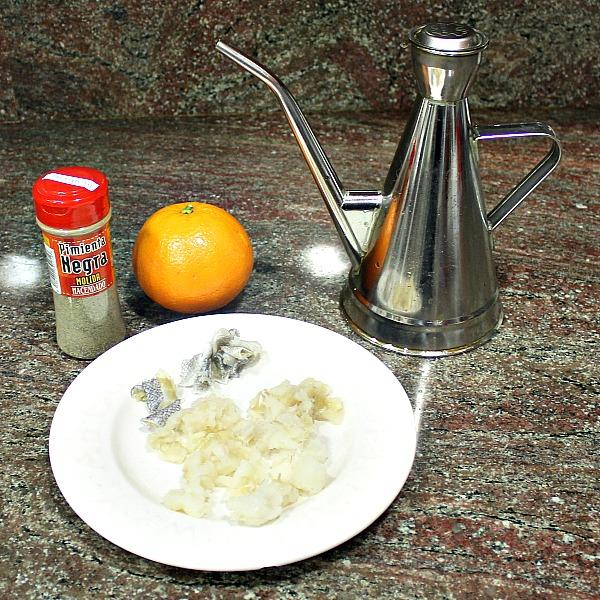 Ingredientes ensalada de naranja y bacalao