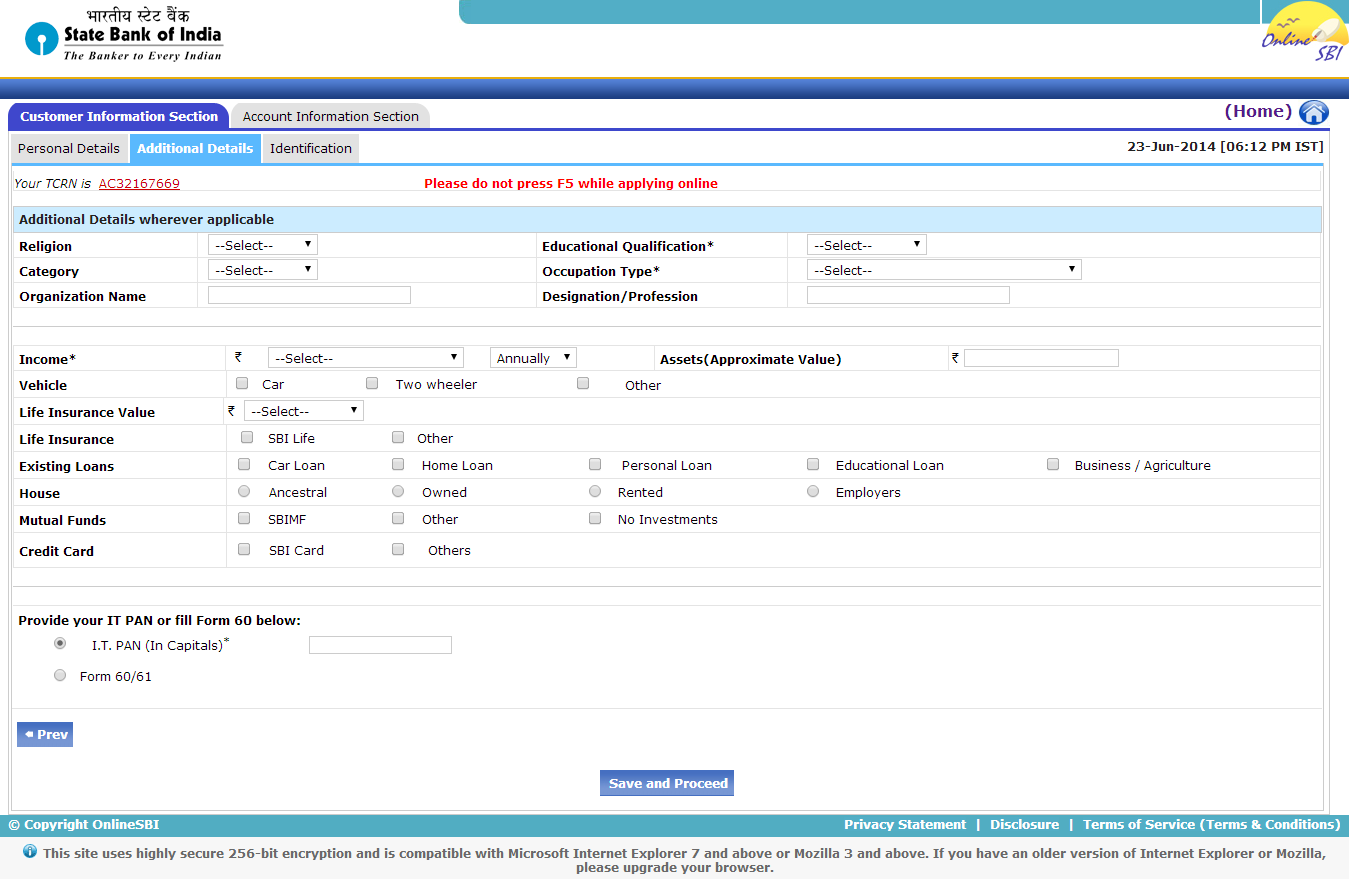 sbi online account opening form pdf