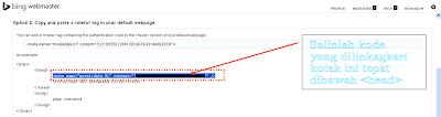 Verifikasi Blog di Web master Bing