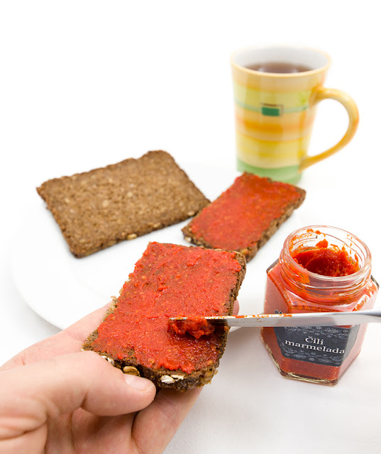 real chili jam on bread