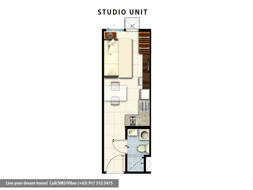 Floor Plan of SMDC Coast Residences - Studio Unit | Condominium for Sale Roxas Boulevard Pasay
