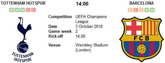 Tottenham Hotspur vs Barcelona en VIVO