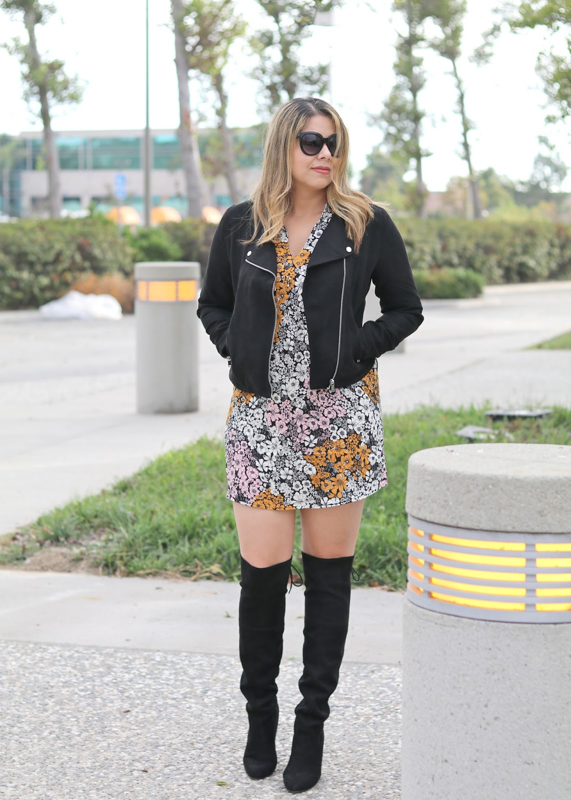 Moto Jacket with Over the Knee Boots, how to wear over the knee boots, San Diego fashion blogger, san diego style blogger