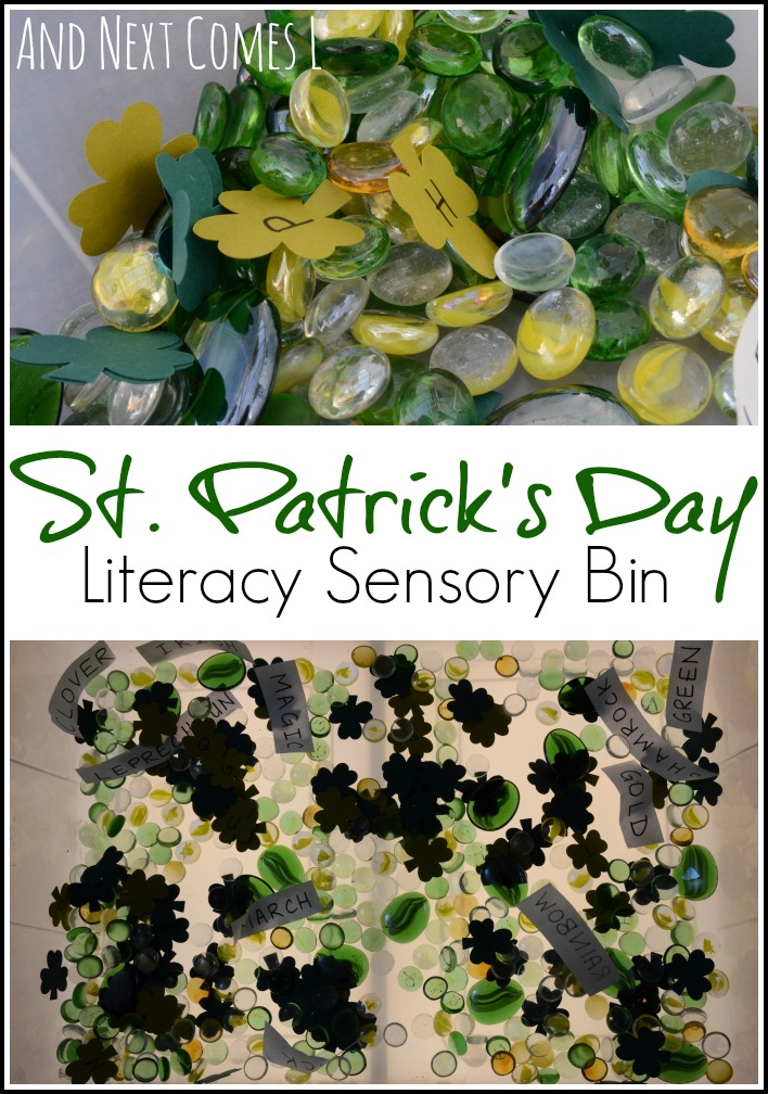 A literacy rich sensory bin for St. Patrick's day that looks great off and on the light table from And Next Comes L